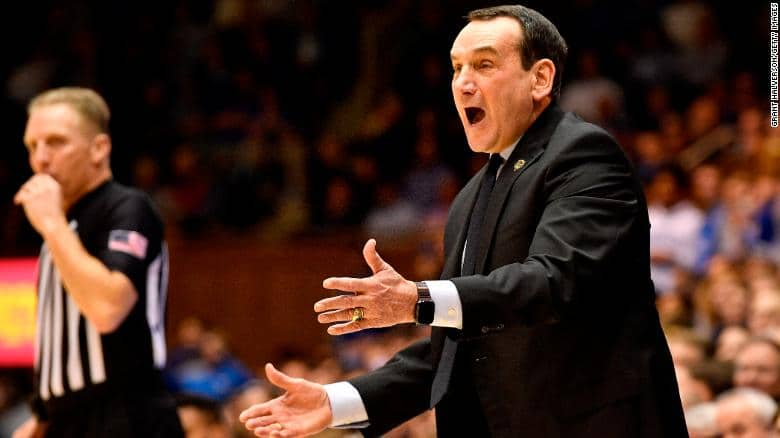 motivate Coach K on the sidelines of a Duke Basketball game