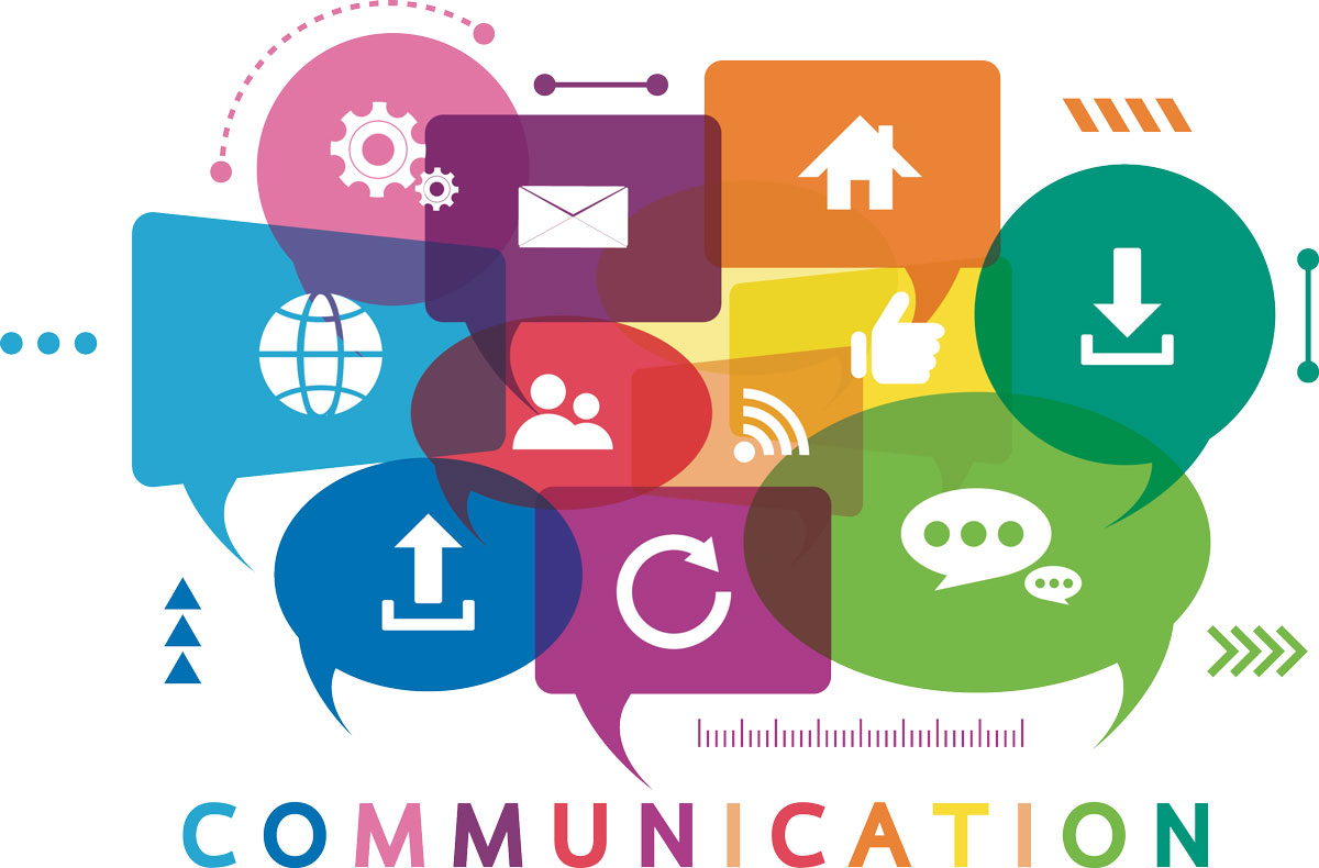 color image of different types of communication represented by icons
